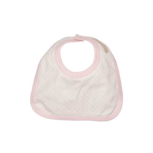 Bellyful Bib - Worth Avenue White with Plantation Pink Micro Dot