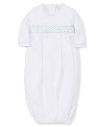 Smocked Sack White W/ Blue