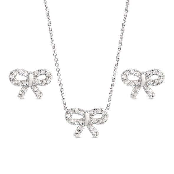 CZ Bow Pendant and Stud Earrings Set