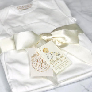 Darling Debut Gift Set (with snaps) - White with Palmetto Pearl