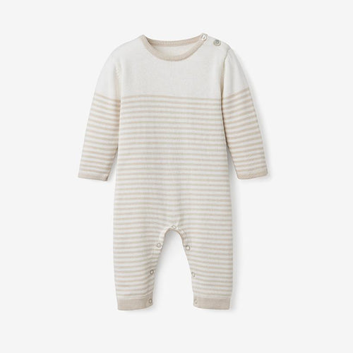 Mini Stripe Cotton Knit Jumpsuit - Wheat