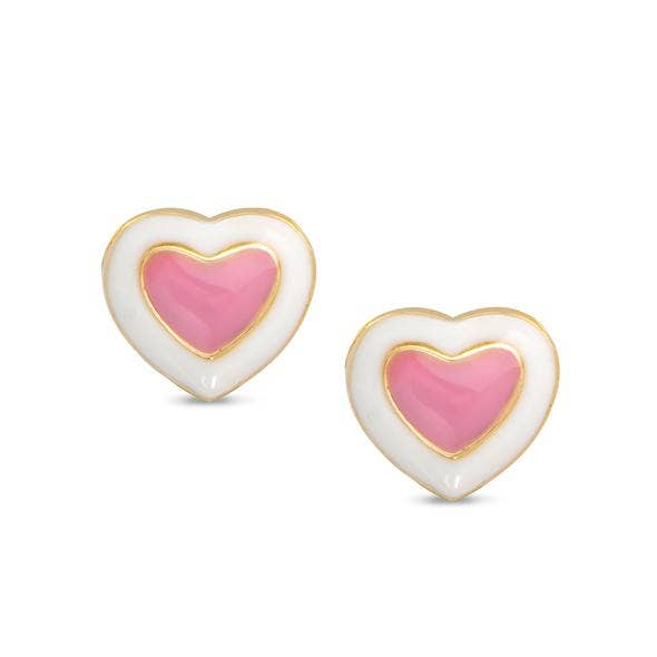 Heart Stud Earring - Pink/White