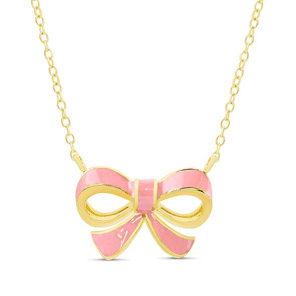 Bow Necklace - Pink
