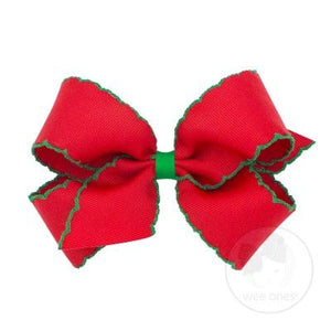 Classic Moonstitch Hair Bow - Red with Green