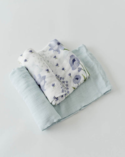 Deluxe Muslin Swaddle 2 Pack - Blue Windflower