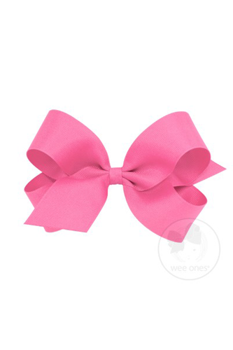 Classic Grosgrain Hair Bow - Hot Pink