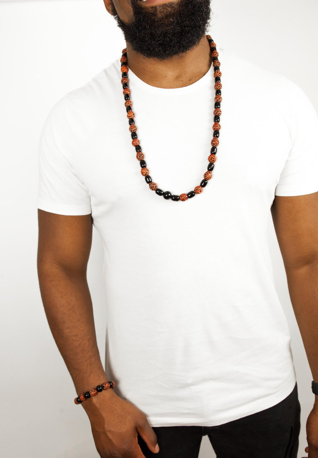 Mens red and black beads set