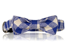 Blue and White Plaid Bow Tie