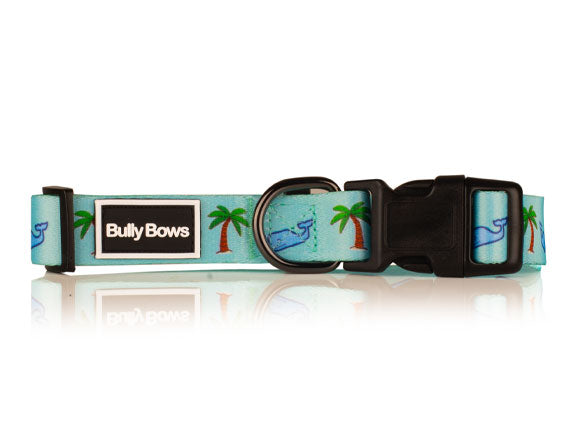 Whale & Palm Tree Dog Collar