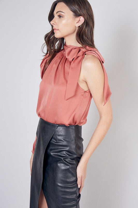 Clay One Shoulder Tie Neck Top