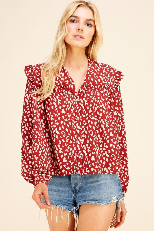 Red Leopard Top