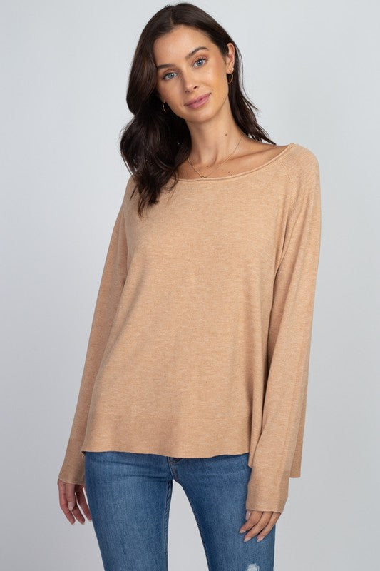 Heather Camel Basic Lightweight Sweater