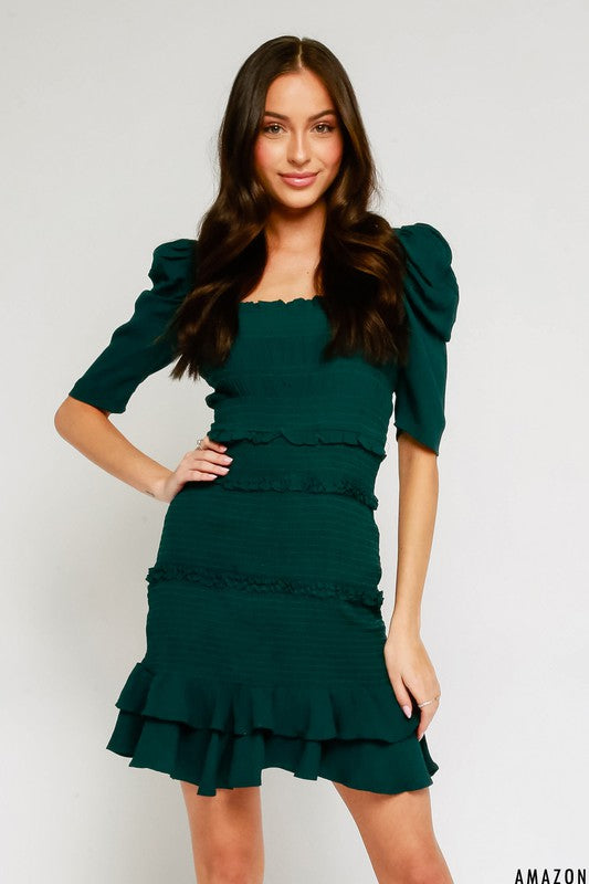 Forest Green Smocked Dress