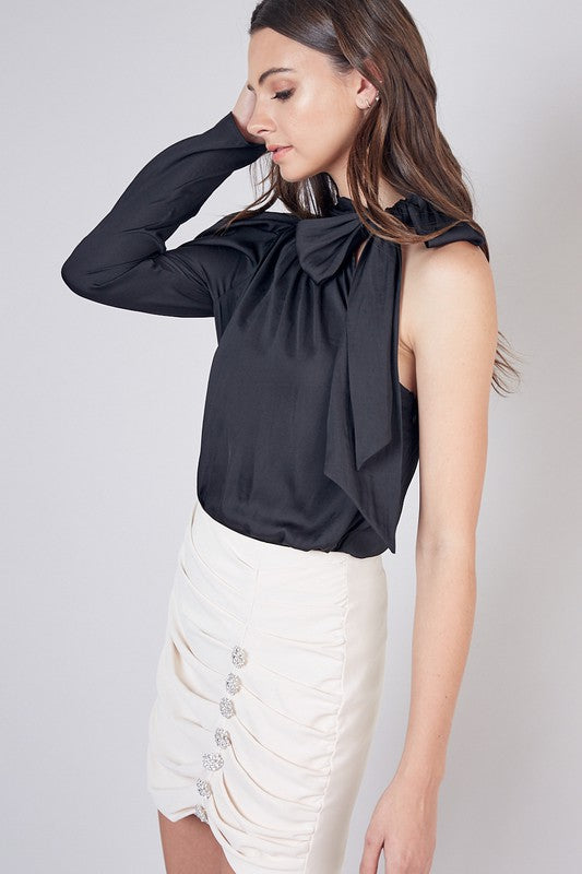 Black One Shoulder Tie Neck Top