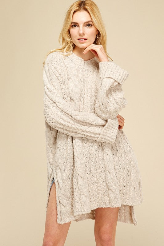 Cream Cable Knit Tunic Sweater