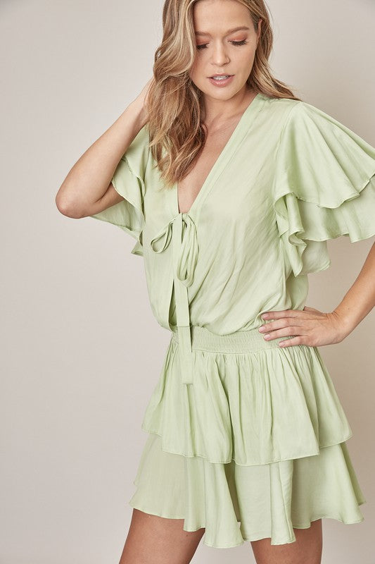 Kiwi Ruffle Sleeve Dress