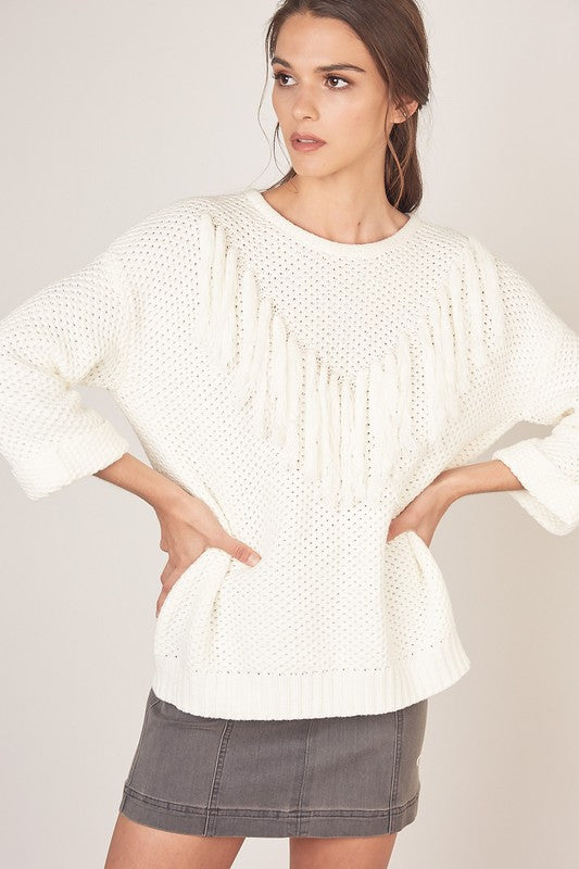 White Frilled Sweater