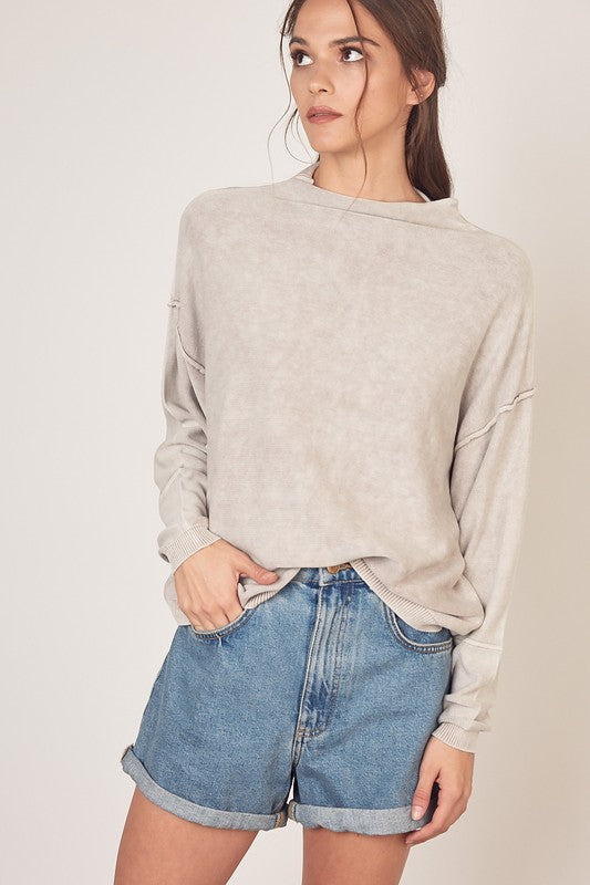 Ash Grey Brushed Knit Sweater