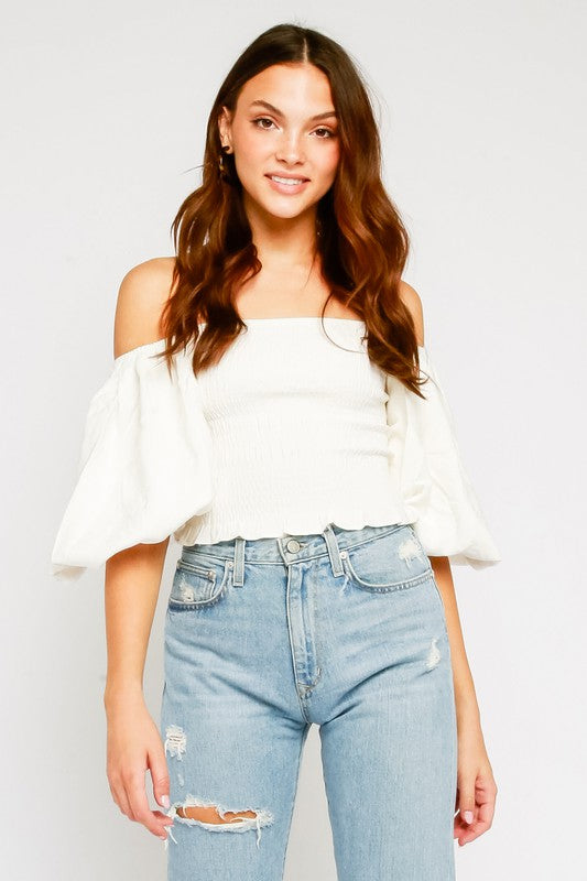 Puffy Arm and Smocked Waist Top - White