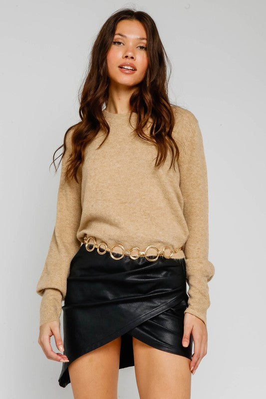 Mocha Bubble Sleeve Sweater
