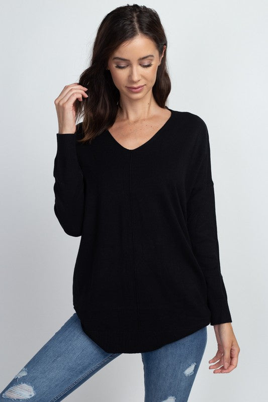Black Oversized Tunic V Neck Sweater