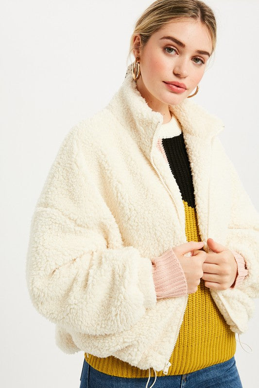 Fuzzy Cream Drawstring Jacket