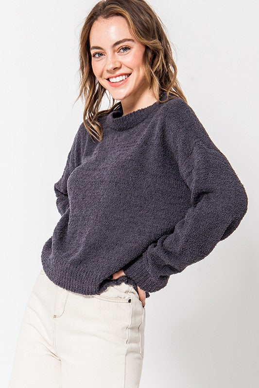 Cozy Long Sleeve Sweater- Charcoal