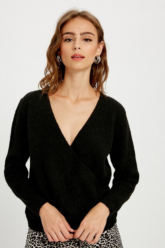 Black Ribbed Surplice Sweater