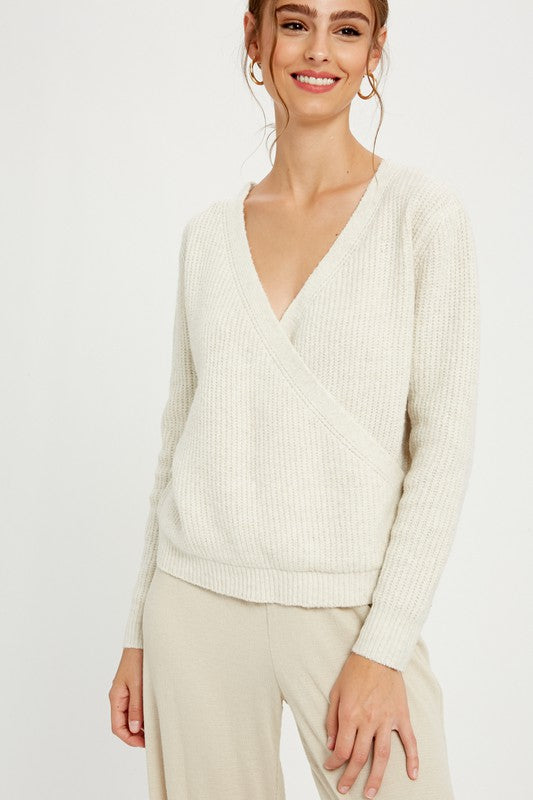 Ivory Ribbed Surplice Sweater