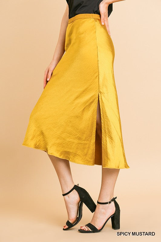 Spicy Mustard Satin Midi Skirt