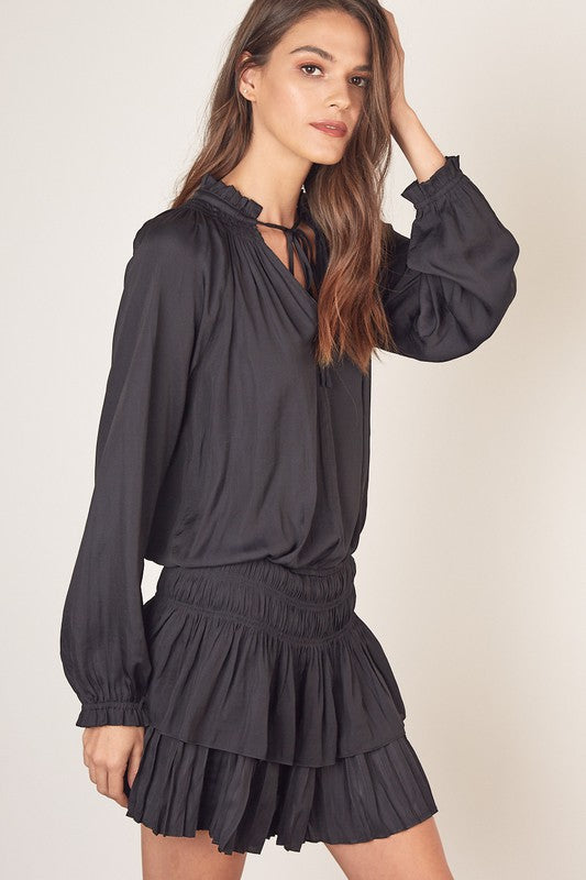 Black Smocked Long Sleeve Dress