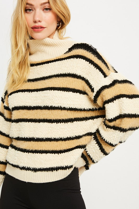 Mock Neck Stripe Natural Sweater