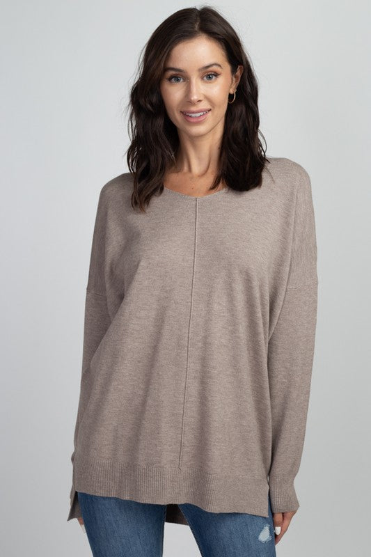 Mocha Oversized Tunic V Neck Sweater