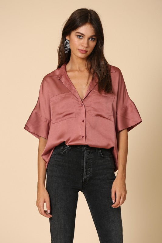 Mauve Satin Button Down Top