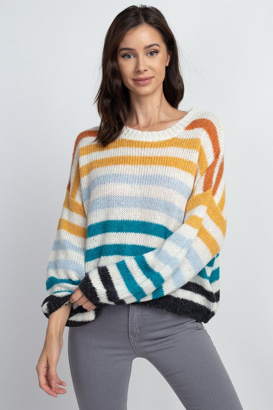 Rainbow Striped Pullover Sweater