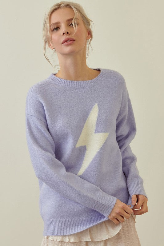 Lightning Bolt Sweater- Lilac