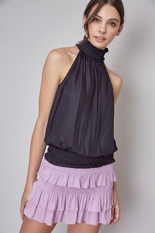 Smocked Neck Blouse- Black