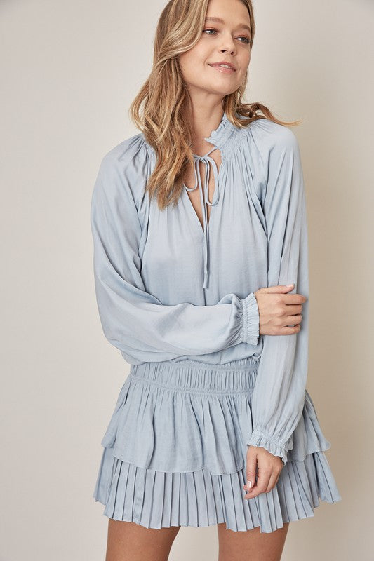 Cloud Smocked Long Sleeve Dress