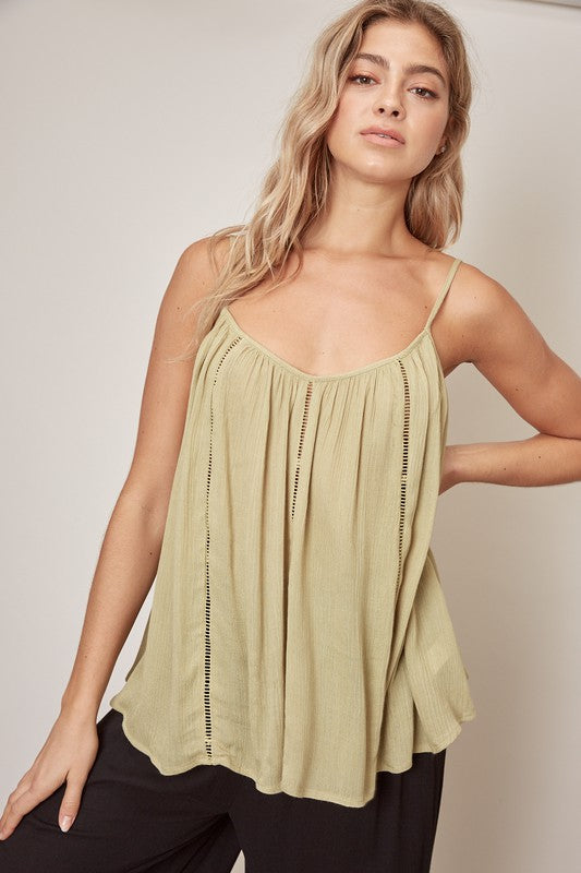 Lace Stripe Tank - Avocado