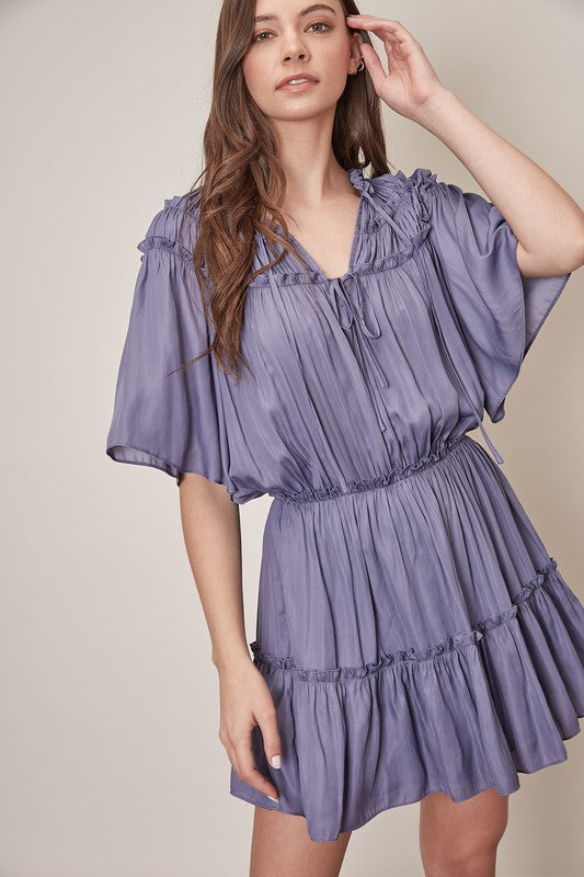 Frill Detail Dress- Orchid Mist
