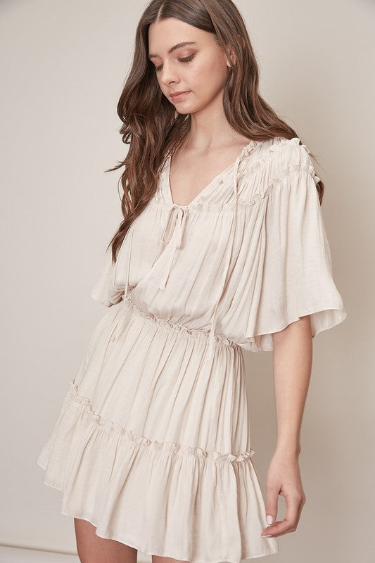 Frill Detail Dress- Ecru