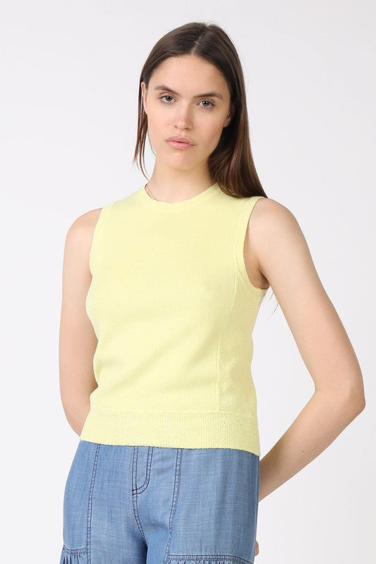 Lime Sleeveless Knit Top