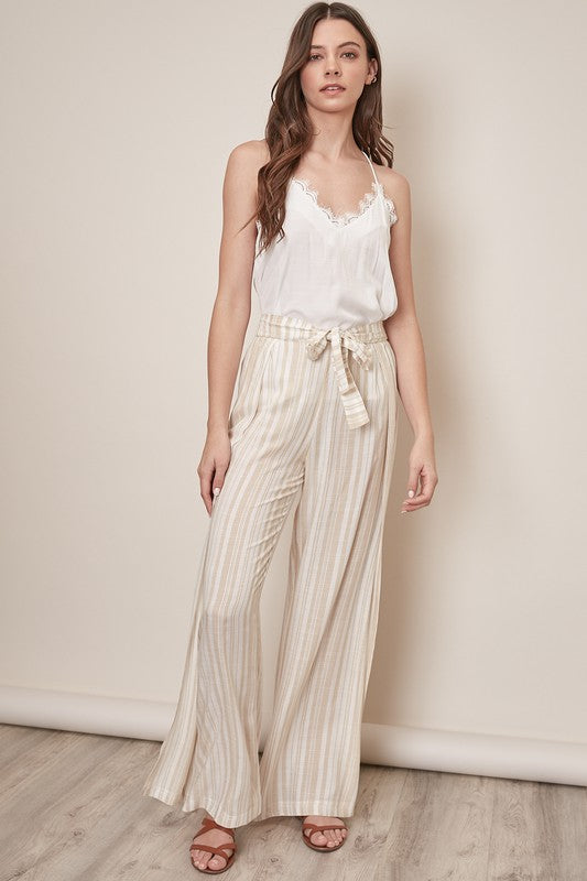 Side Slit Striped Pants - Taupe