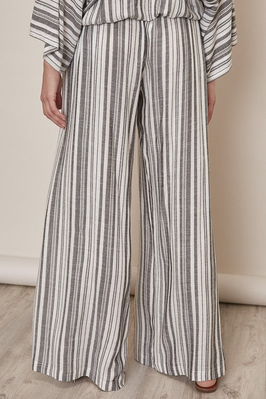 Side Slit Striped Pants - Black