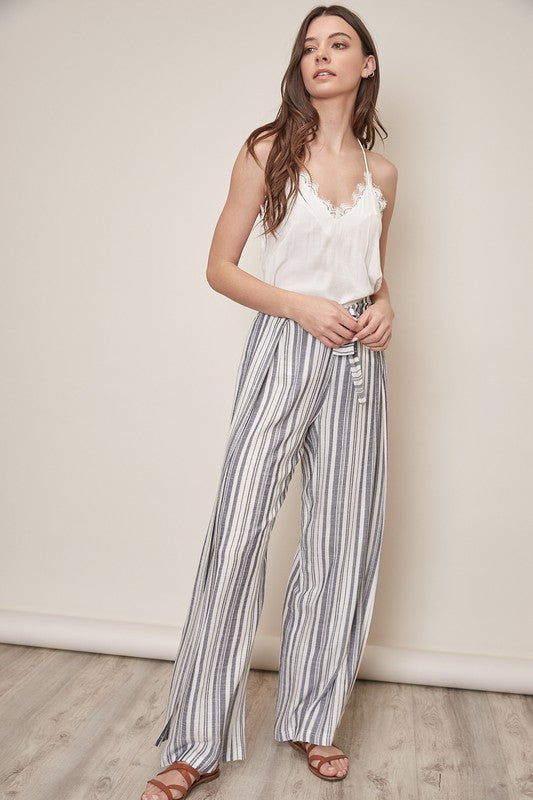 Side Slit Striped Pants - Denim