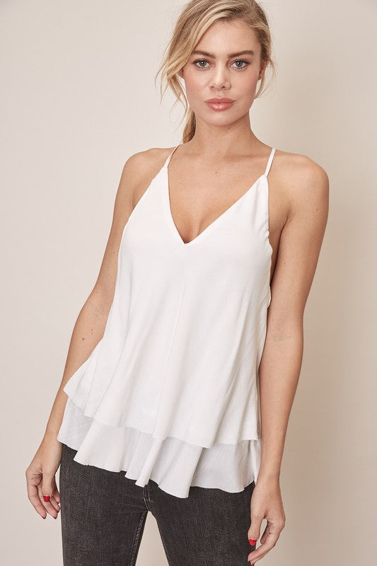 White Layered Tank Top