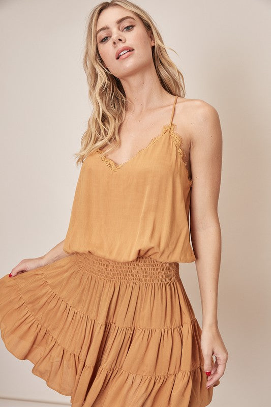 Knotted Racerback Smocking Dress - Caramel