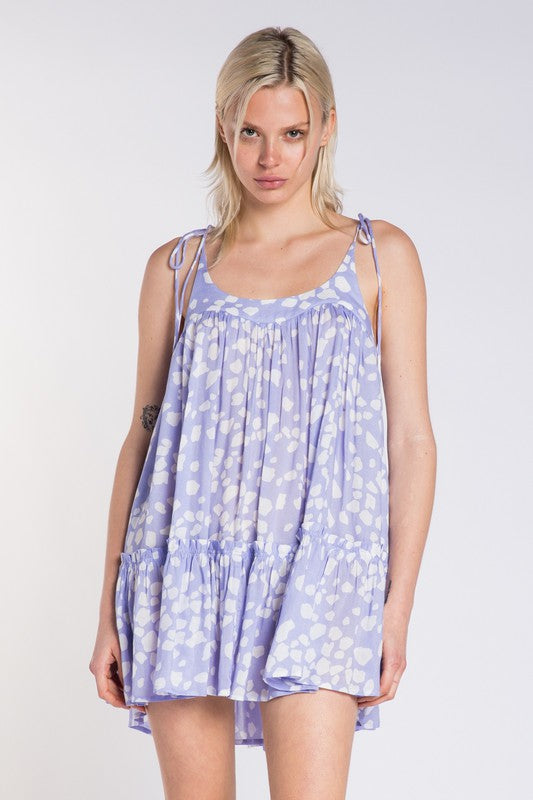Lavender Petal Print Dress