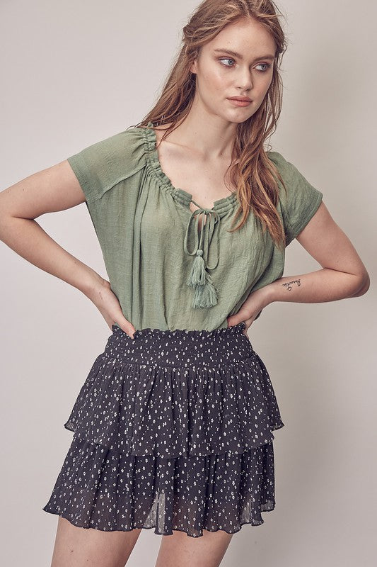 Misty Green Front Tie Top