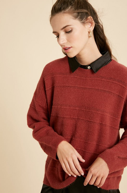 Mohair Detail Brick Sweater